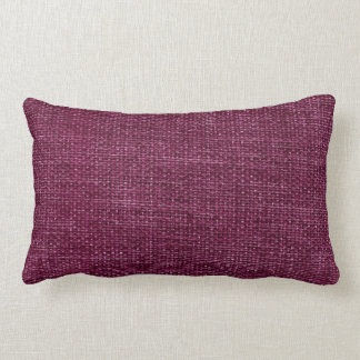 Burlap Simple Dark Magenta Lumbar Pillow