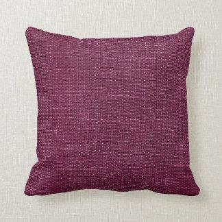 Burlap Simple Dark Magenta Throw Pillows