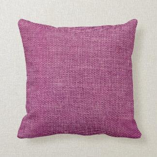 Burlap Simple Magenta Throw Pillow