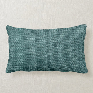 Burlap Simple Teal Lumbar Pillow