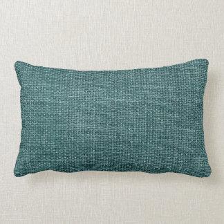 Burlap Simple Teal Lumbar Pillow