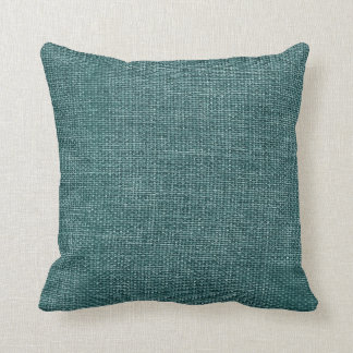 Burlap Simple Teal Pillow