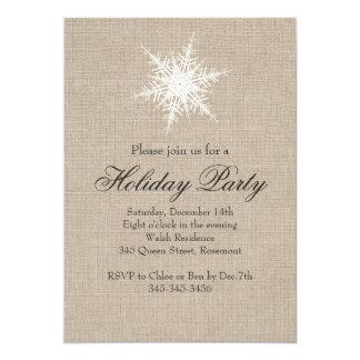 Burlap Snowflake Holiday Party Invitation