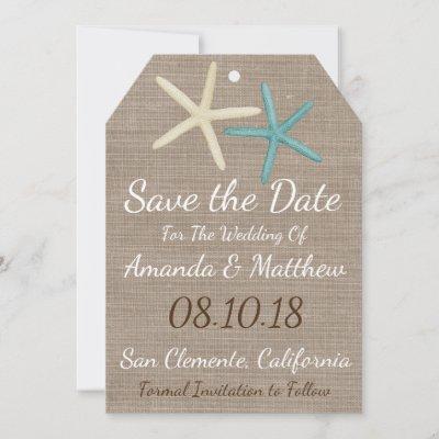 Burlap & Starfish Beach Wedding Save The Date Card