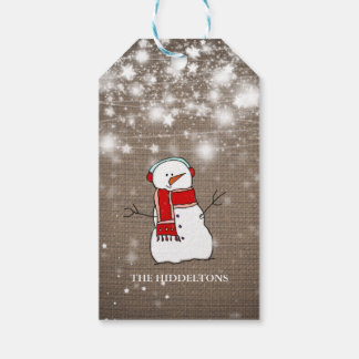Burlap Stars Christmas Cute Snowman Script Holiday Pack Of Gift Tags
