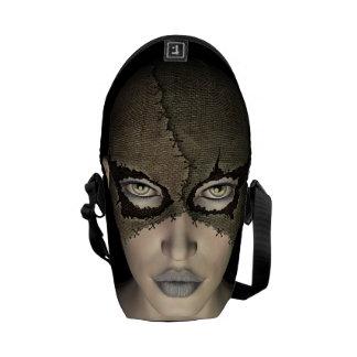 Burlap Stitched Mask Female Inside Travel Bags Messenger Bag