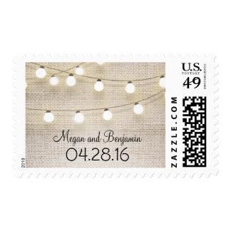 burlap string lights rustic wedding postage stamp