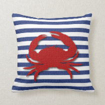 Burlap Stripe Print with Silhouette Red Crab Throw Pillow