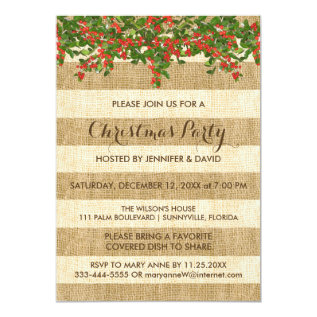 Burlap Stripes And Christmas Holly Party Card at Zazzle