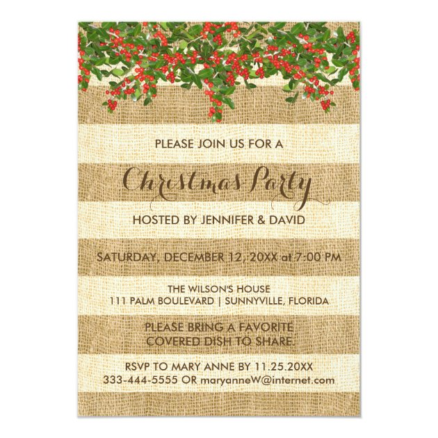 Burlap Stripes and Christmas Holly Party Card