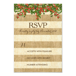 Burlap Stripes and Christmas Yaupon Holly Card