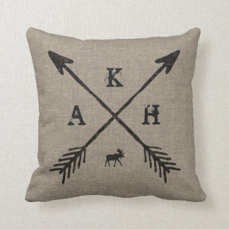 Burlap Style | Arrows Monogram Letters and Moose Throw Pillow