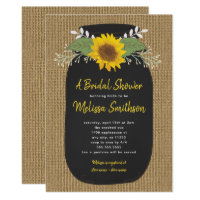 Burlap Sunflower Chalk Mason Jar Bridal Shower Invitation