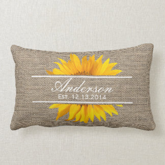 Burlap & Sunflower Family Established Family Name Lumbar Pillow