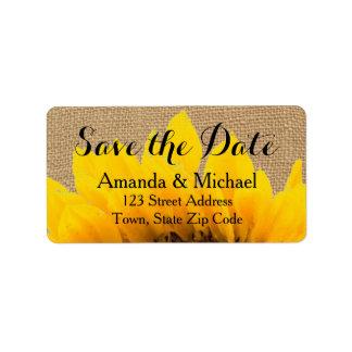 Burlap Sunflower | Save the Date Address Label