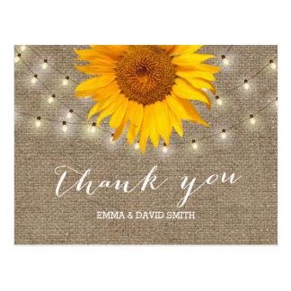 Burlap Sunflower & String Lights Thank You Postcard