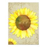 Burlap Sunflower + Swirls Country Wedding Invites