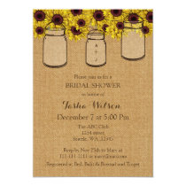 Burlap Sunflowers Mason Jars Bridal Shower Invite