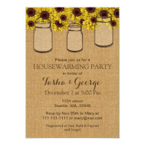 Burlap Sunflowers Mason Jars housewarming Invite