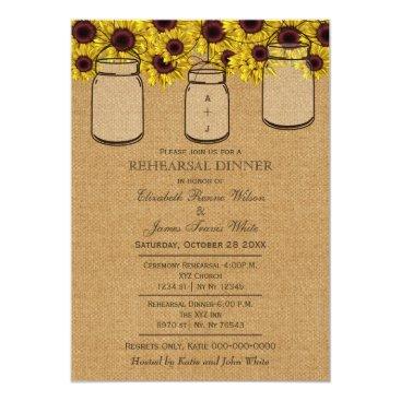 Burlap Sunflowers mason jars rehearsal invites