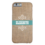Burlap & Teal Stripe Personalized Barely There iPhone 6 Case