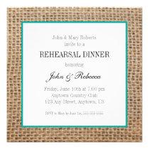 Burlap & Teal Wedding Rehearsal Dinner Card