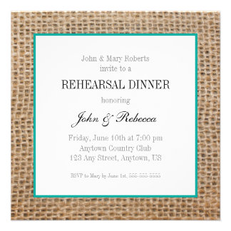 Burlap & Teal Wedding Rehearsal Dinner Card