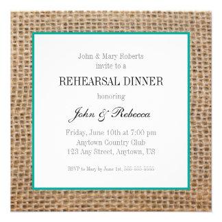 Burlap & Teal Wedding Rehearsal Dinner Invite