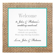 Burlap & Teal Wedding Welcome Card