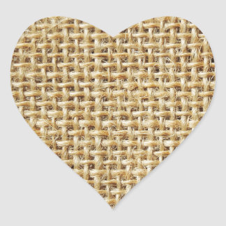 Burlap texture heart sticker