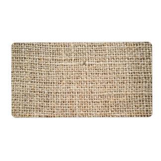Burlap texture shipping label