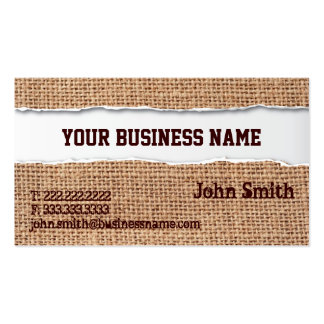 Burlap Texture Ripped Business Card