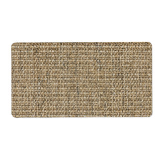 Burlap texture shipping label
