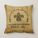 Burlap textured throw pillow with french logo