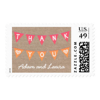 Burlap Thank You Banner Coral and Orange Postage Stamp