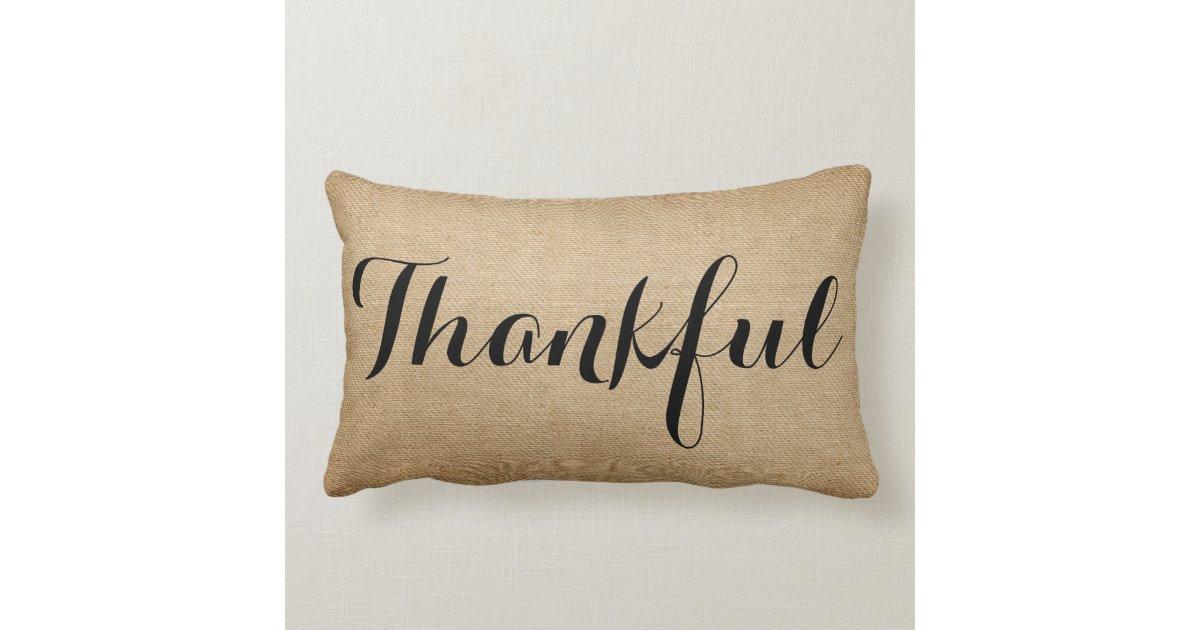 Burlap Thankful Family Rustic Lumbar Pillow Zazzle