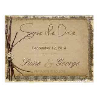 Burlap, Twigs and Twine Save the Date ID132 Postcard