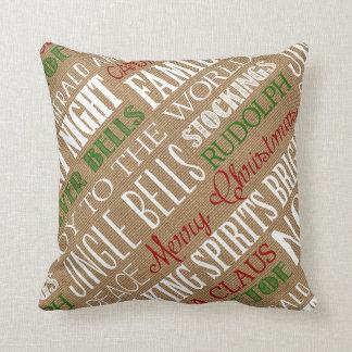 Burlap Typography Christmas Pillow