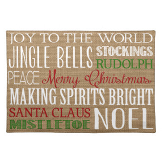 Burlap Typography Christmas Placemat Cloth Placemat