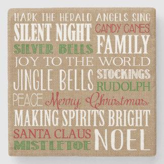 Burlap Typography Rustic Christmas Coaster Stone Coaster