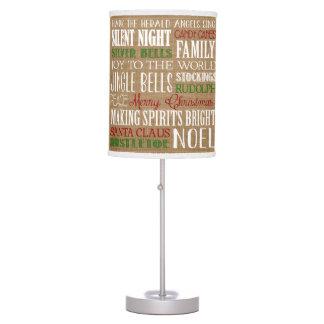 Burlap Typography Rustic Christmas Lamp