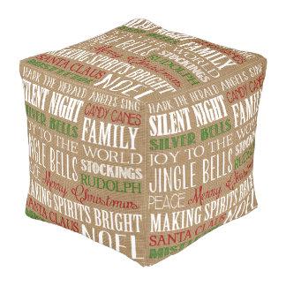 Burlap Typography Rustic Christmas Pouf Cube Pouf