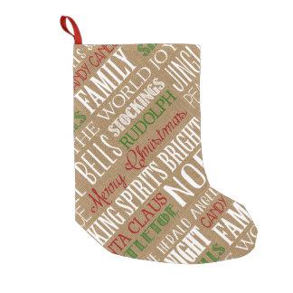 Burlap Typography Rustic Christmas stocking Small Christmas Stocking