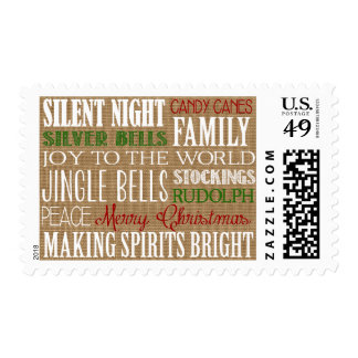 Burlap Typography Rustic Holiday Postage