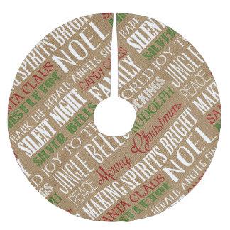Burlap Typography Rustic Holiday Tree Skirt