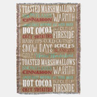 Burlap Typography Rustic Winter Wonderland Throw