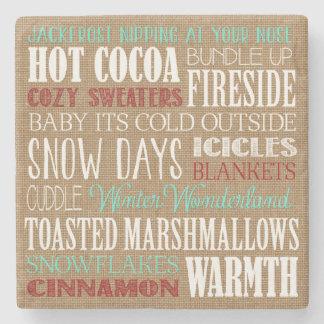 Burlap Typography Winter Wonderland Coaster Stone Beverage Coaster