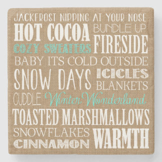 Burlap Typography Winter Wonderland Coaster Stone Coaster