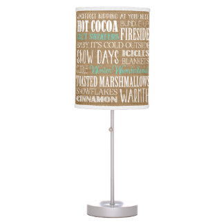 Burlap Typography Winter Wonderland Lamp