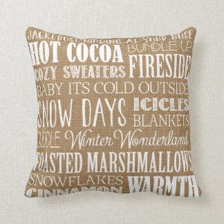 Burlap Typography Winter Wonderland Pillow
